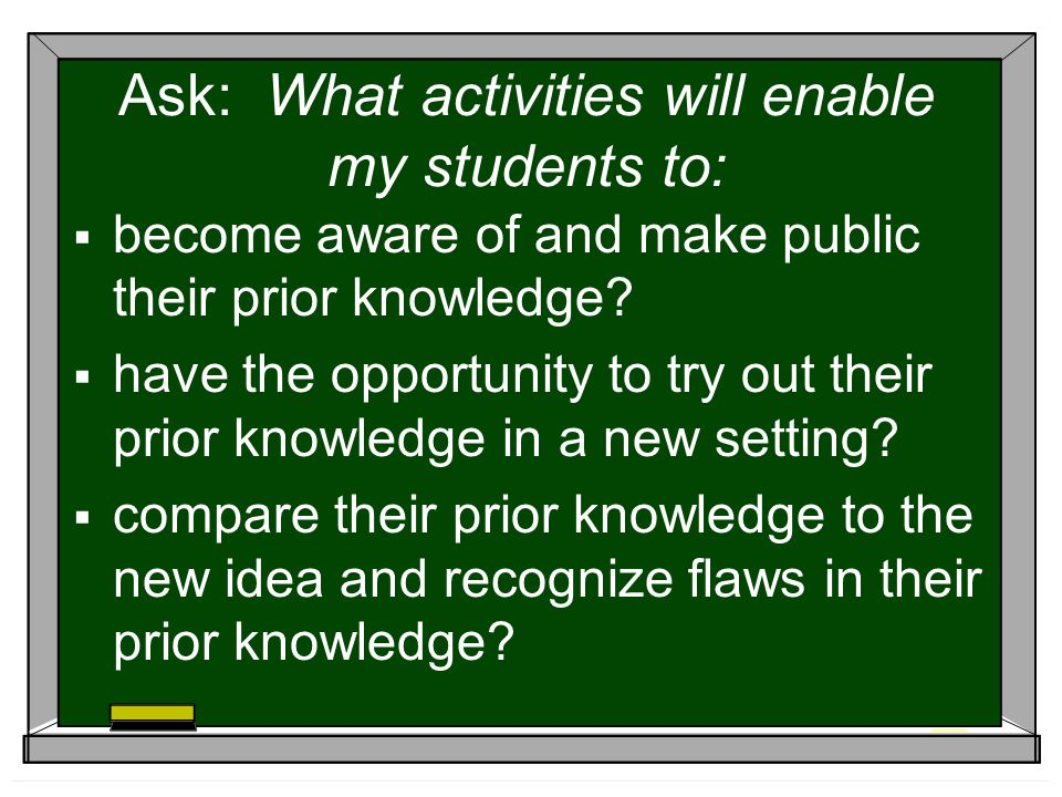 Ask: What activities will enable my students to: