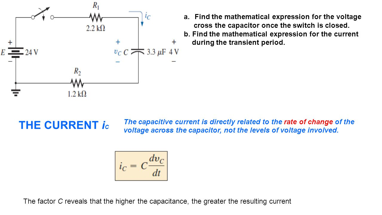THE CURRENT iC Find the mathematical expression for the voltage