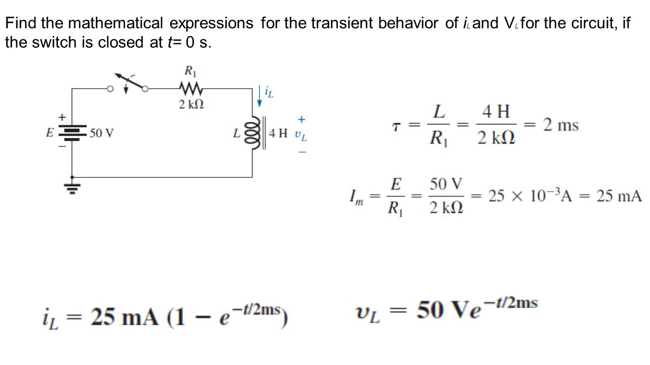 Find the mathematical expressions for the transient behavior of iL and VL for the circuit, if the switch is closed at t= 0 s.