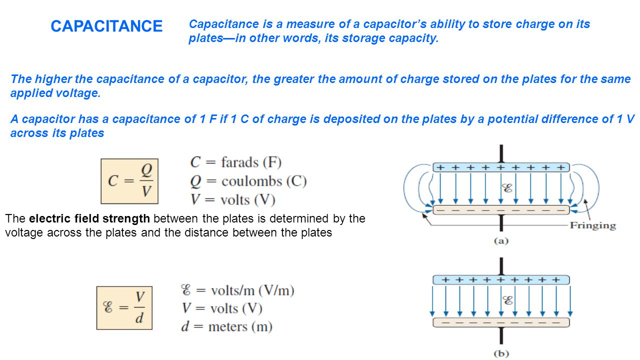 CAPACITANCE Capacitance is a measure of a capacitor's ability to store charge on its. plates—in other words, its storage capacity.