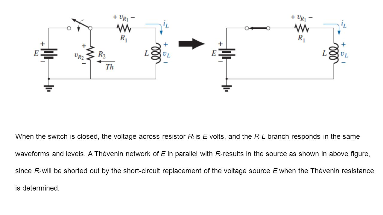 When the switch is closed, the voltage across resistor R2 is E volts, and the R-L branch responds in the same waveforms and levels.