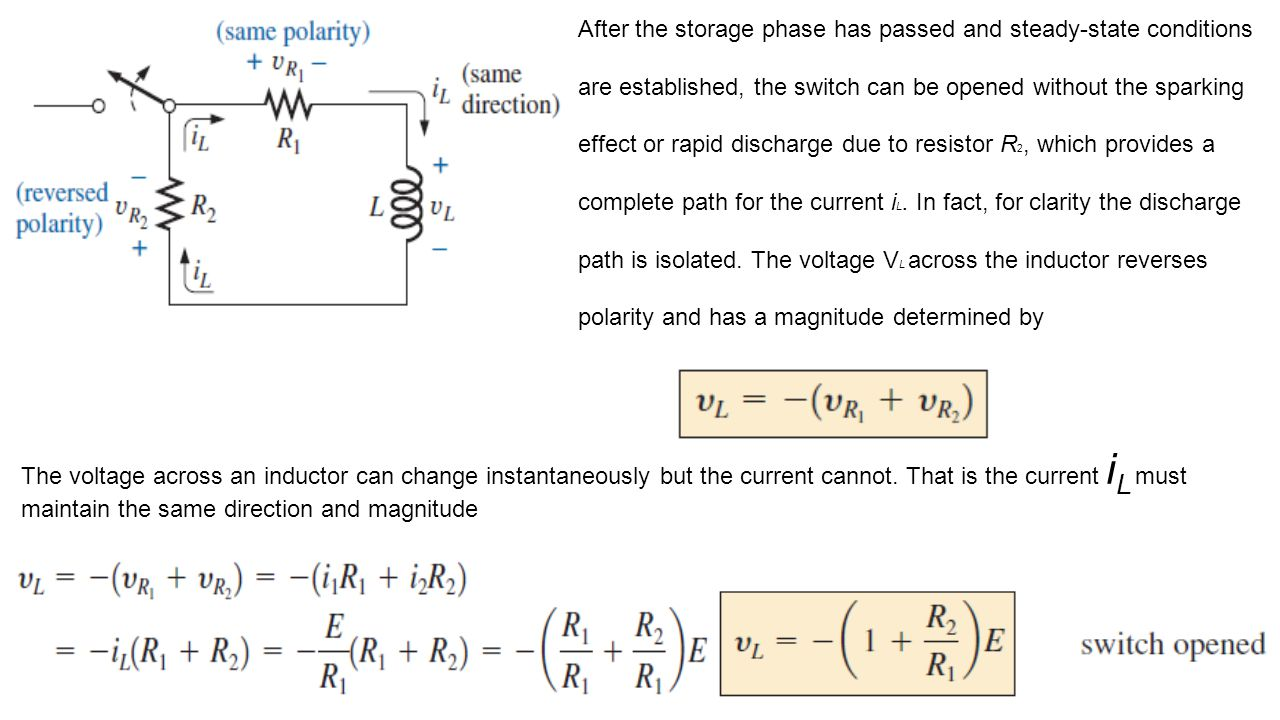 After the storage phase has passed and steady-state conditions are established, the switch can be opened without the sparking effect or rapid discharge due to resistor R2, which provides a complete path for the current iL. In fact, for clarity the discharge path is isolated. The voltage VL across the inductor reverses polarity and has a magnitude determined by