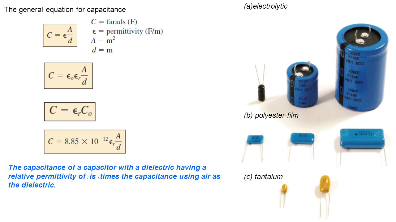 (a)electrolytic The general equation for capacitance. (b) polyester-film.