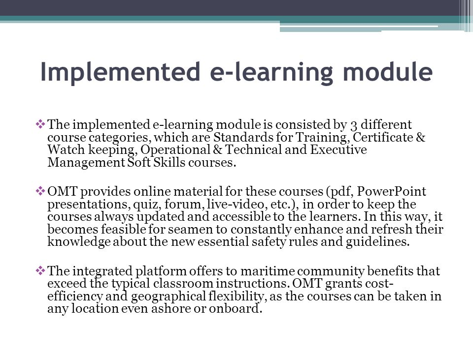 Implemented e-learning module