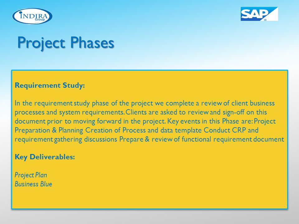 Project Phases Requirement Study: