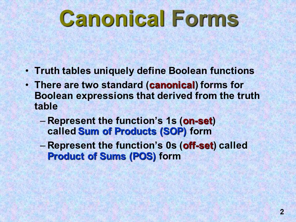Canonical Forms Truth tables uniquely define Boolean functions