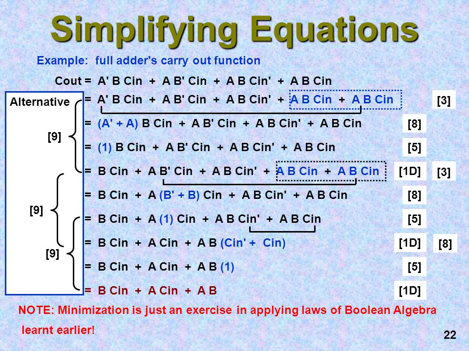 Simplifying Equations