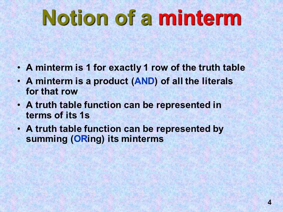 Notion of a minterm A minterm is 1 for exactly 1 row of the truth table. A minterm is a product (AND) of all the literals for that row.