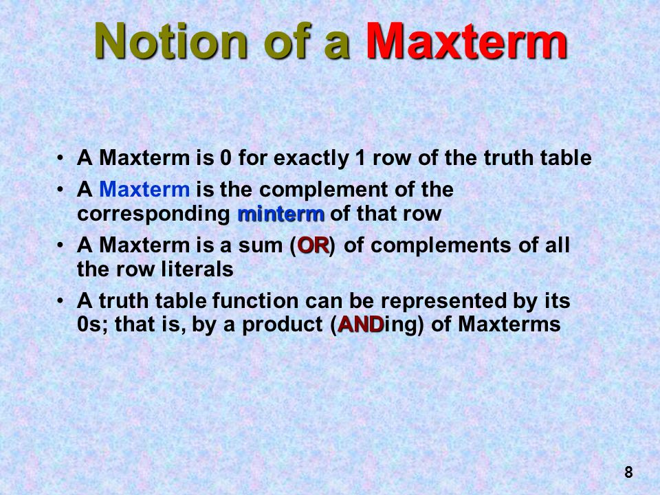 Notion of a Maxterm A Maxterm is 0 for exactly 1 row of the truth table. A Maxterm is the complement of the corresponding minterm of that row.