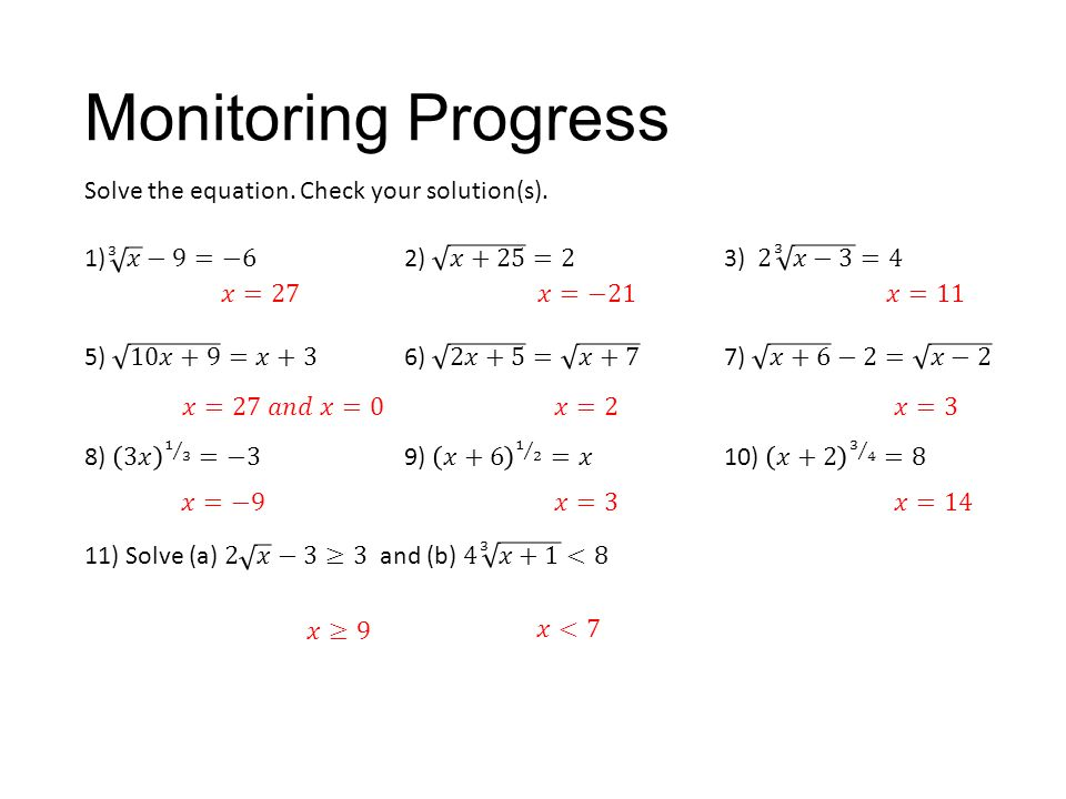Monitoring Progress Solve the equation. Check your solution(s).