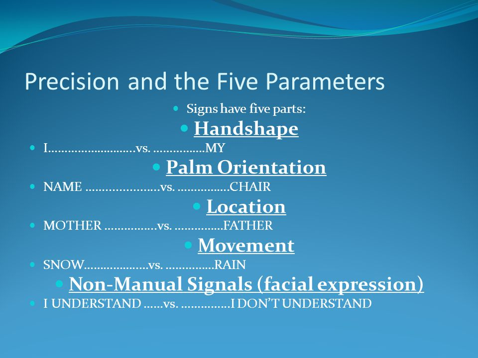 Precision and the Five Parameters