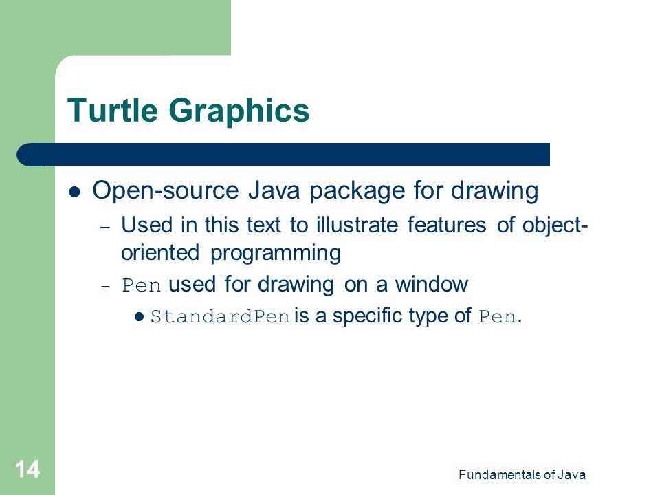Turtle Graphics Open-source Java package for drawing