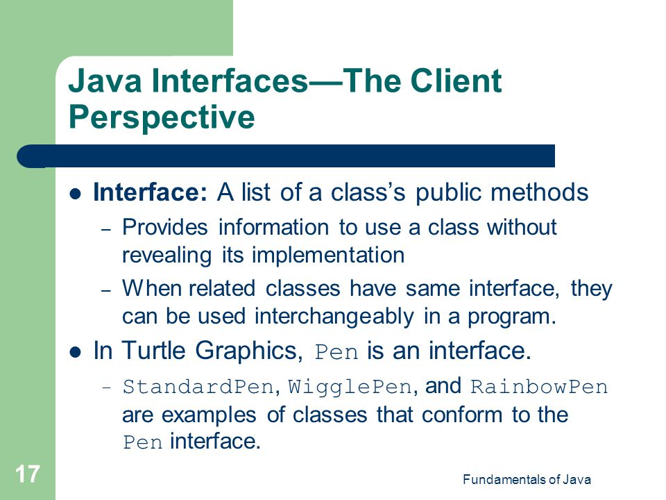 Java Interfaces—The Client Perspective