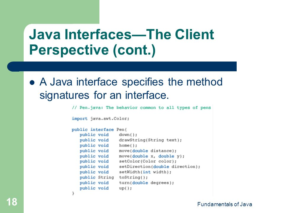 Java Interfaces—The Client Perspective (cont.)