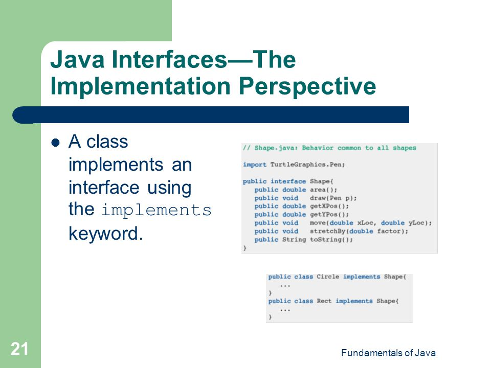 Java Interfaces—The Implementation Perspective