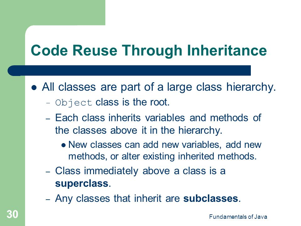 Code Reuse Through Inheritance