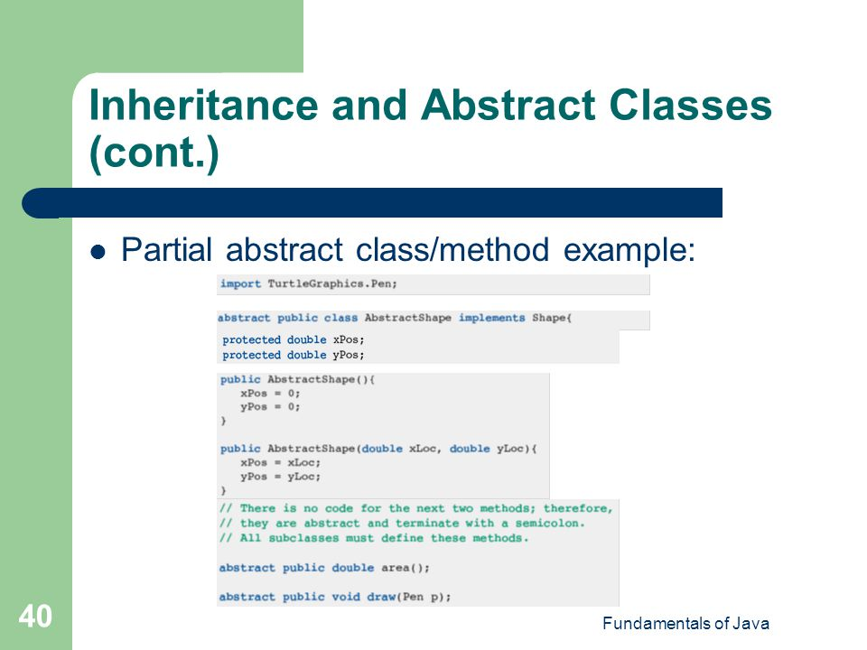 Inheritance and Abstract Classes (cont.)