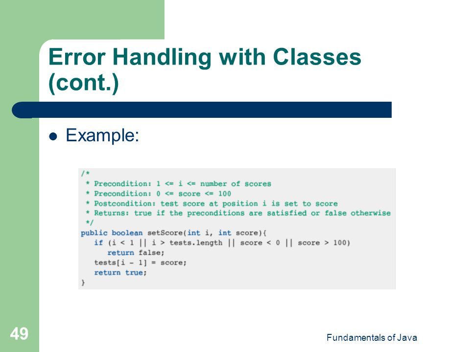 Error Handling with Classes (cont.)