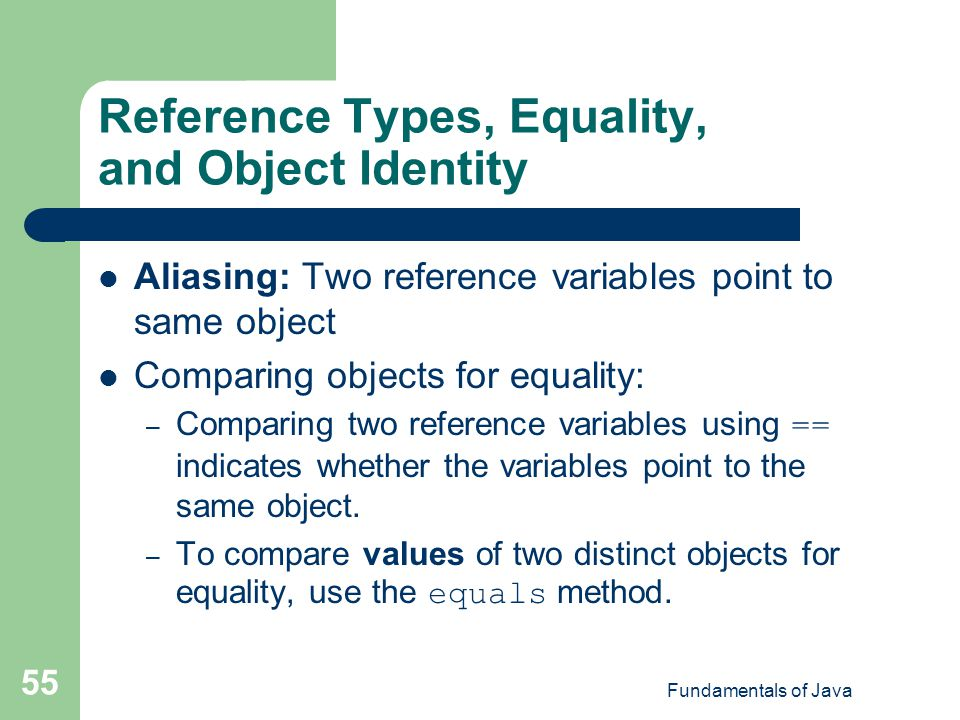 Reference Types, Equality, and Object Identity