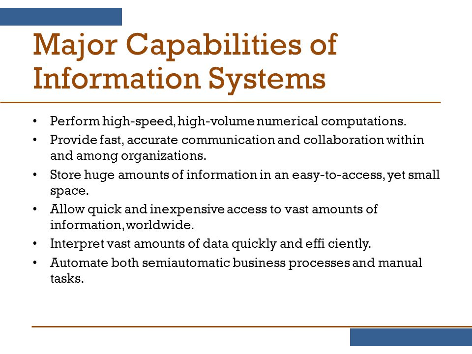 Major Capabilities of Information Systems
