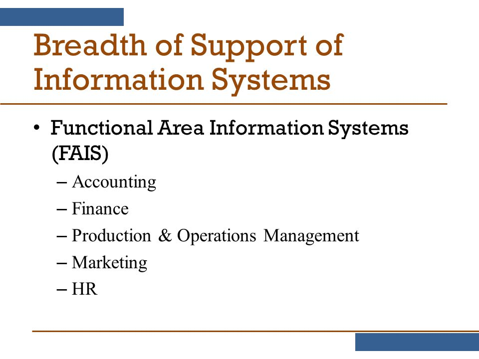 Breadth of Support of Information Systems