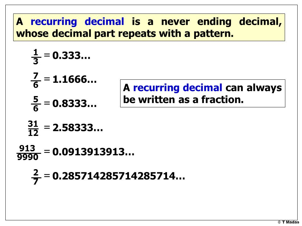 A Recurring Decimal Can Always Be Written As A Fraction