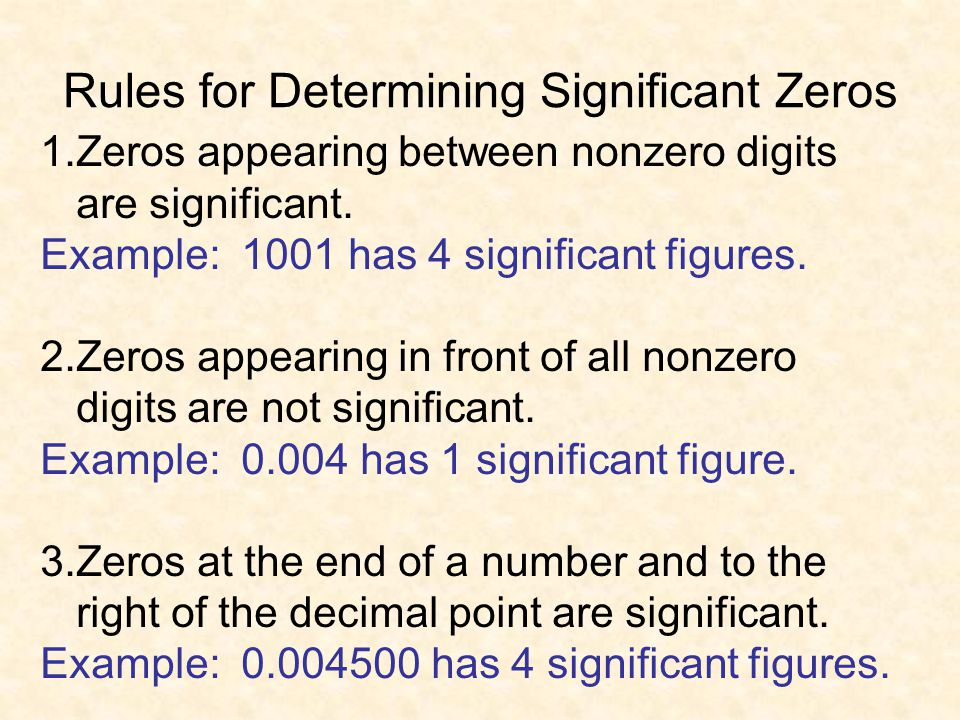 Rules for Determining Significant Zeros