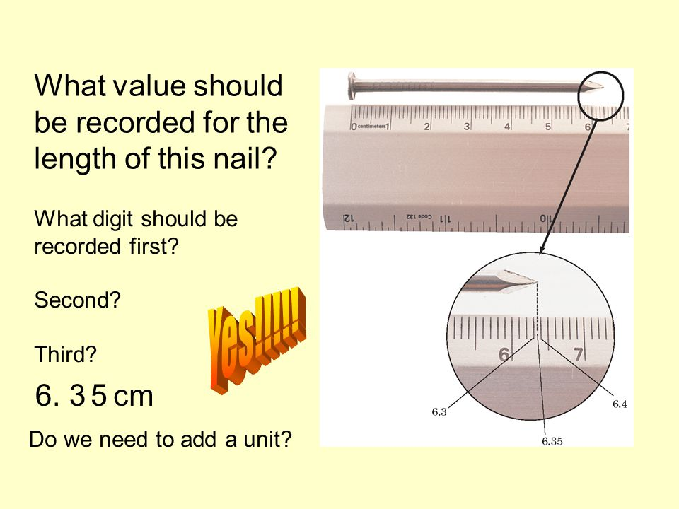 Yes!!!!! What value should be recorded for the length of this nail 6.