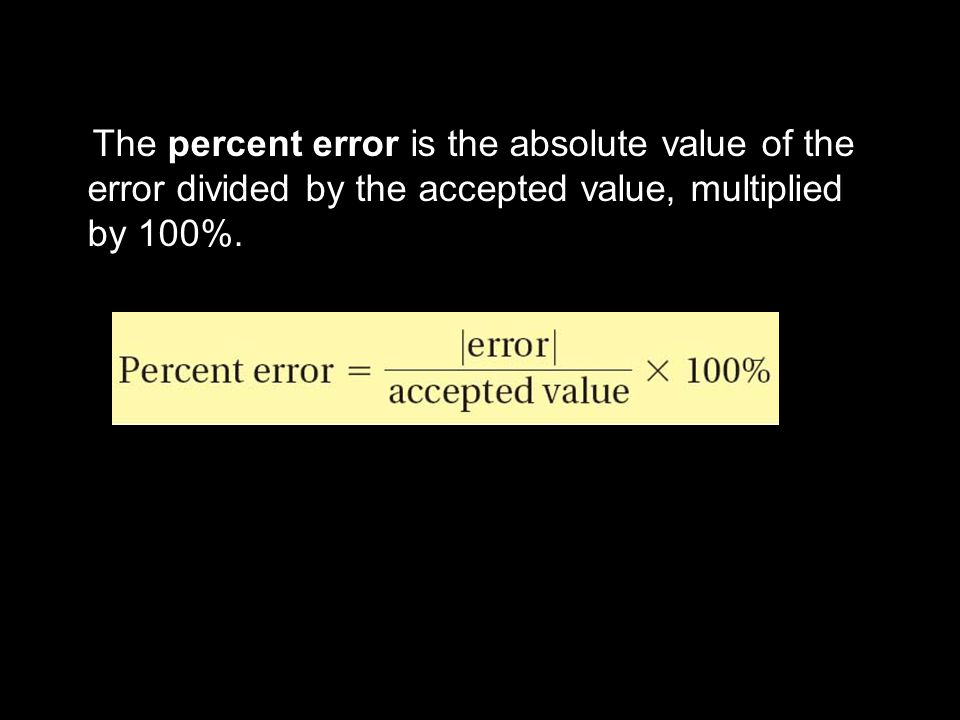 3.1 The percent error is the absolute value of the error divided by the accepted value, multiplied by 100%.
