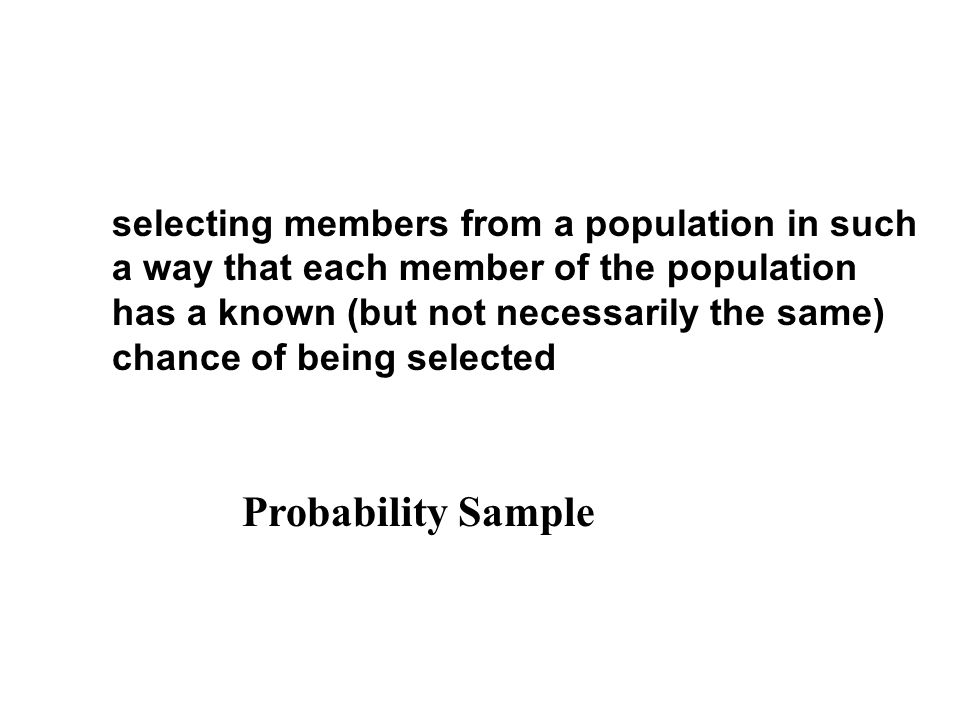 selecting members from a population in such a way that each member of the population has a known (but not necessarily the same) chance of being selected