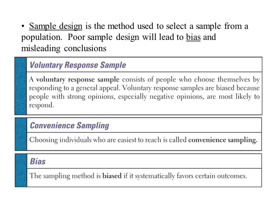 Sample design is the method used to select a sample from a population