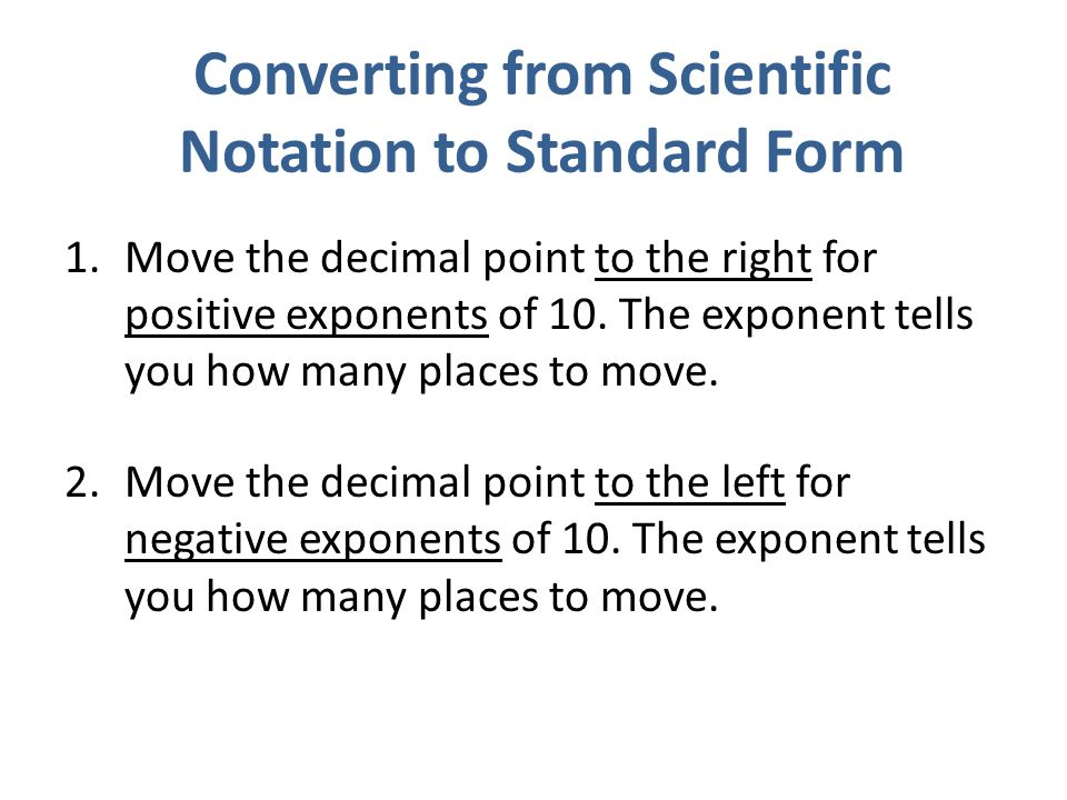 Changing Scientific Notation To Standard Form Gallery Free Form