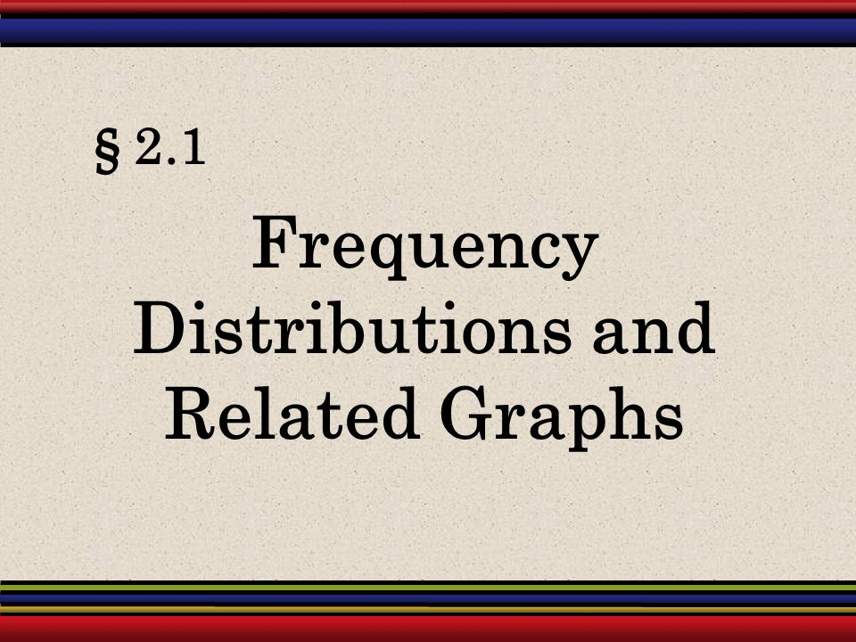 Frequency Distributions and Related Graphs