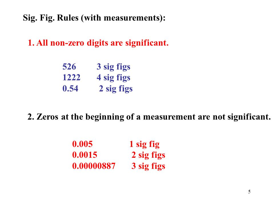 Sig. Fig. Rules (with measurements):