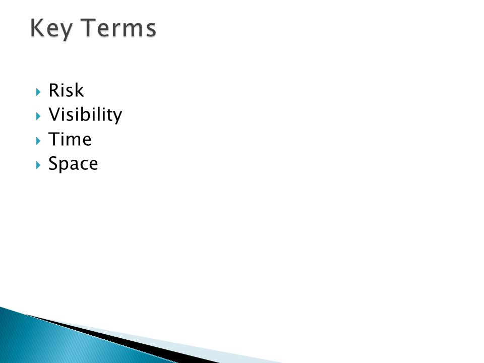 Key Terms Risk Visibility Time Space