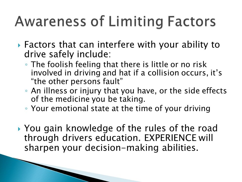 Awareness of Limiting Factors