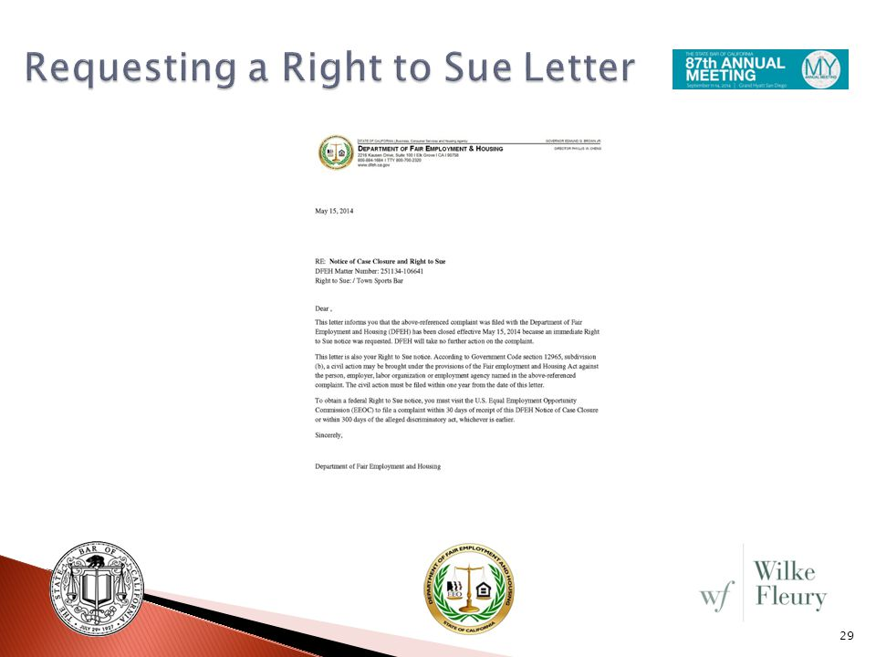 eeoc right to sue letter california employment discrimination working with the 21444 | Requesting a Right to Sue Letter
