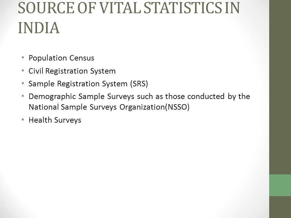 VITAL STATISTICS IN INDIA - ppt download