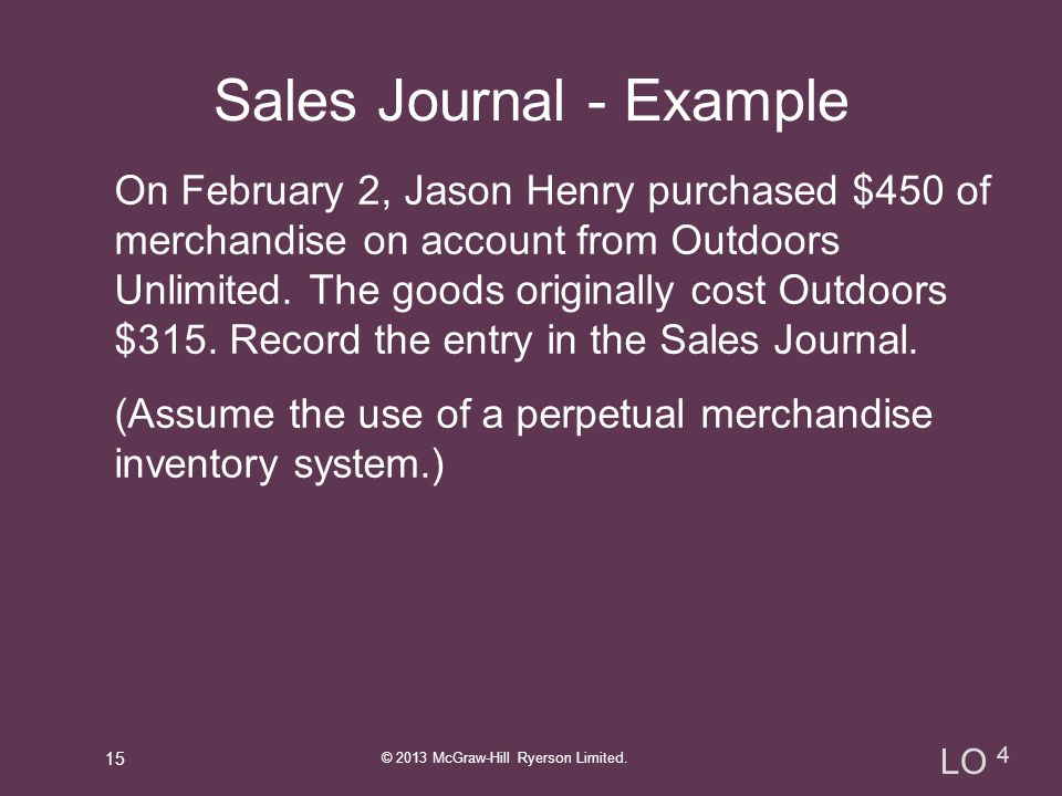 Sales Journal - Example