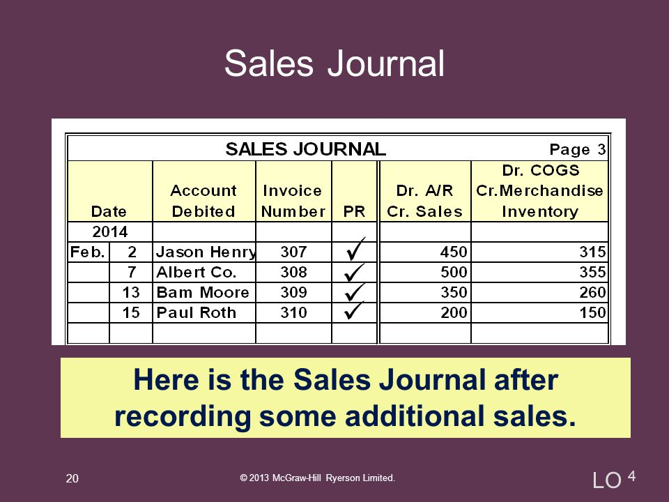 Here is the Sales Journal after recording some additional sales.