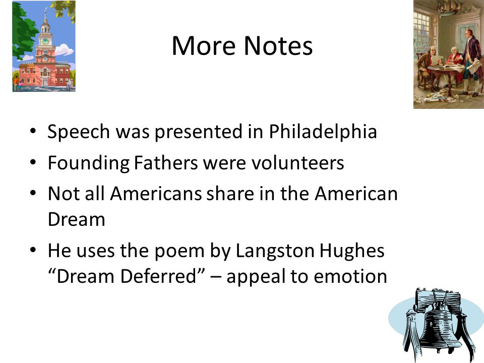 More Notes Speech was presented in Philadelphia