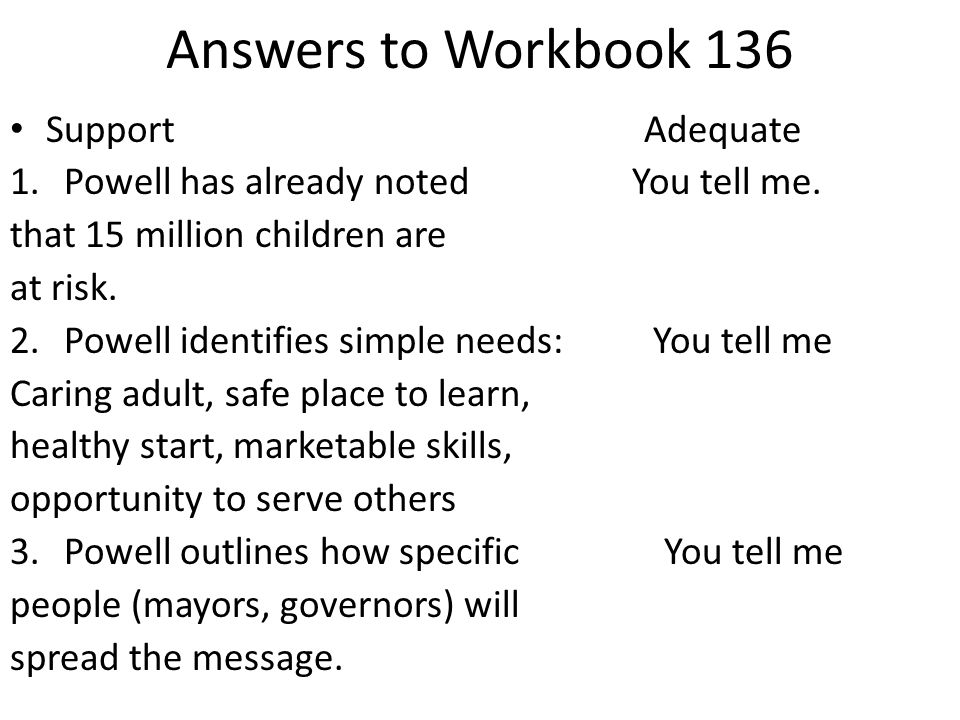 Answers to Workbook 136 Support Adequate