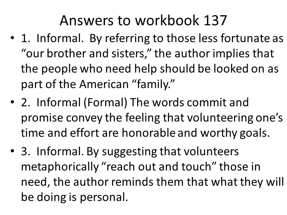 Answers to workbook 137