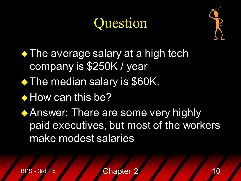 Question The average salary at a high tech company is $250K / year