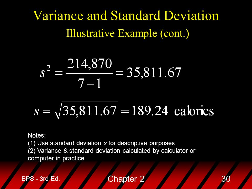 Variance and Standard Deviation Illustrative Example (cont.)