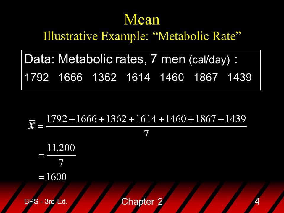 Mean Illustrative Example: Metabolic Rate