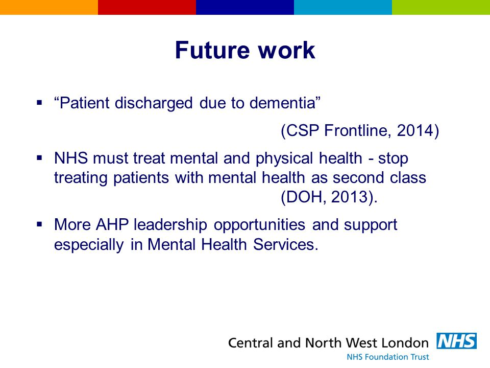 Future work Patient discharged due to dementia (CSP Frontline, 2014)