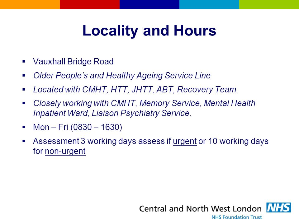 Locality and Hours Vauxhall Bridge Road