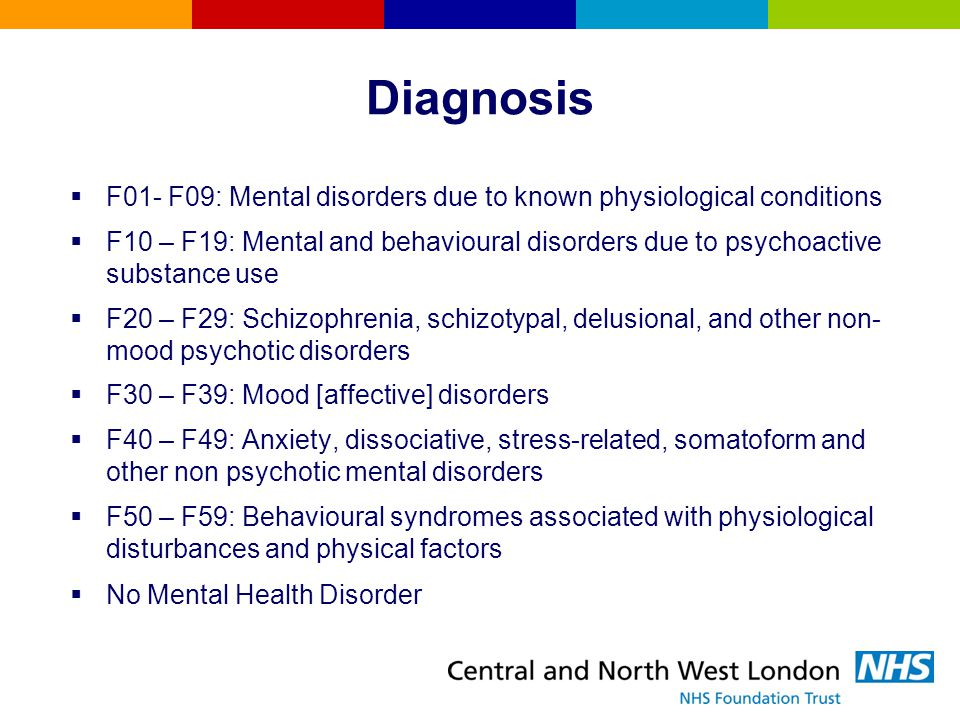 Diagnosis F01- F09: Mental disorders due to known physiological conditions.