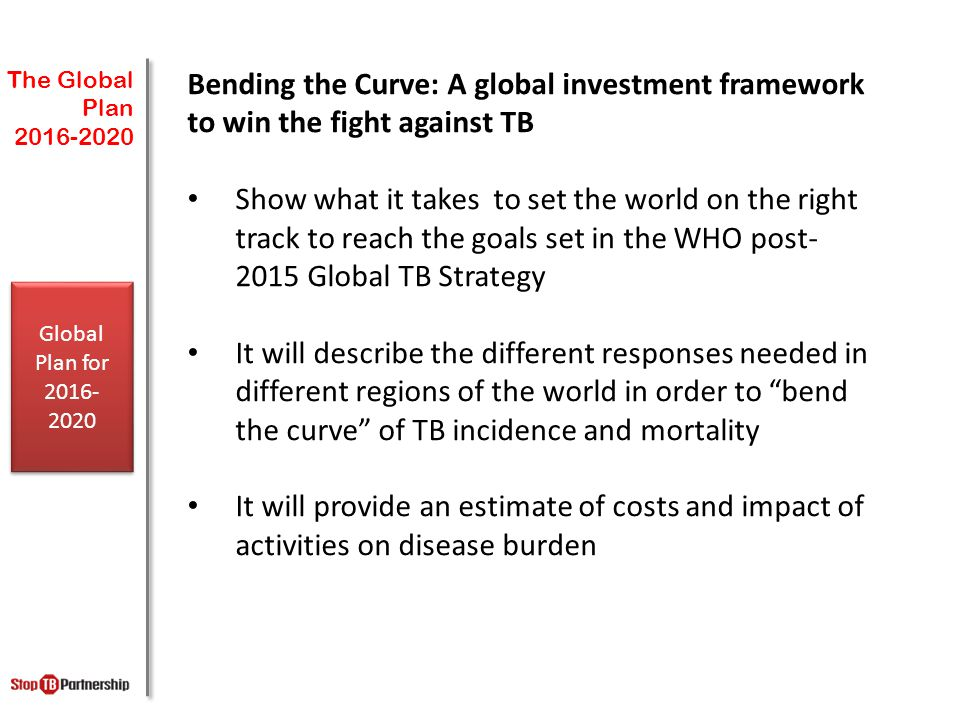 The Global Plan Bending the Curve: A global investment framework to win the fight against TB.